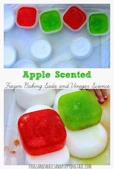 Apple Scented Frozen Baking Soda and Vinegar Science