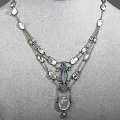Arts & Crafts Moonstone and Opal Necklace