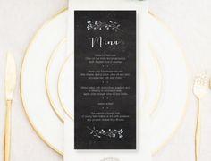 Personalised Printable Wedding Menu Card Chalkboard Menu