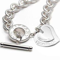 Engraved Tiffany Necklace Women's Heart Tag Toggle Necklace-$37.99