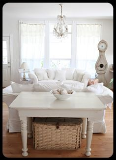 Attirant Sofa Love Seat Table Basket Lights Chandelier Swedish Clock Living Room  Whitewashed Cottage Chippy Shabby Chic