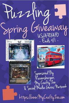 the Puzzling Spring This fantastic prize pack has 3 amazing puzzles to keep you busy on rainy spring days! Open to US/APO/AFO Ends Jigsaw Puzzles For Kids, Online Sweepstakes, Activities To Do, Gift Guide, Crafts For Kids, Entertaining, Crafty, Disney S, Spring