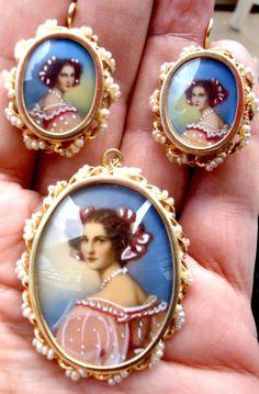 Set Of 14K Solid Gold , Seed Pearls , Portrait, Pendent and Earrings snd GAMLIEL #GAMLIEL
