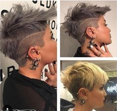 Stylish girl with unique short haircuts - Neue Frisuren Cute Hairstyles For Short Hair, Short Hair Cuts, Curly Hair Styles, Beautiful Hairstyles, Trending Hairstyles, Popular Hairstyles, Edgy Hair, Hair Tattoos, Haircut And Color