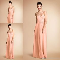 Wholesale Bridesmaid Dress - Buy Pretty Peach Color Sweetheart Pleats Chiffon Long Bridesmaid Dress Brides Maid Dress Vestido De Dama De Honra BD130, $75.42 | DHgate