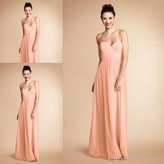 Wholesale Bridesmaid Dress - Buy Pretty Peach Color Sweetheart Pleats Chiffon Long Bridesmaid Dress Brides Maid Dress Vestido De Dama De Honra BD130, $93.0 | DHgate