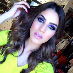 Colorful purple and blue eye makeup