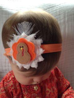 Thanksgiving baby headband - turkey baby headband - shabby chic baby headband - fall baby headband - newborn thanksgiving headband on Etsy, $6.95