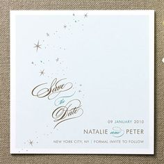 Icy blue and a flurry of snow and stars hint at a sophisticated winter wedding to come. Float + Starry save-the-date, $160 for 100, Float Paperie for Minted