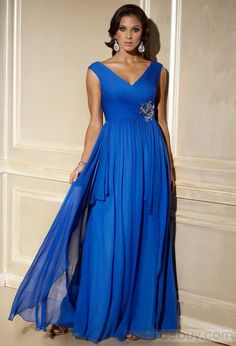 Brilliant A-Line V-Neck Empire Tiered Evening Dresses