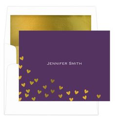 Purple Floating Gold Foil Hearts Foldover Note Cards with Lined Envelopes