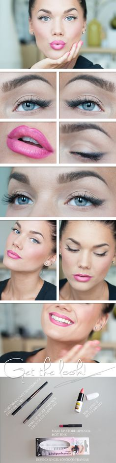 pink lip. winged eye liner.