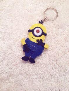 handmade felt keychain minion , diy , gift