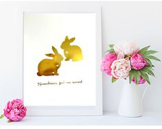 #aliceinwonderland  #whiterabbit #rabbitdecor  Real Gold or Silver Foil Print  Two Rabbits by MoonOrchids on Etsy