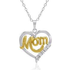 Sterling Silver and Diamond Mom in Heart PendantNecklace -- Details can be found by clicking on the image. (This is an affiliate link and I receive a commission for the sales)