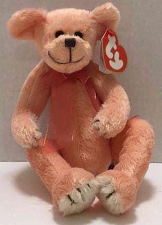 """Vintage 1993 Ty Hayes Peachy Teddy Bear w/ Bow 8"""" Plush Soft Stuffed Animal Toy…"""
