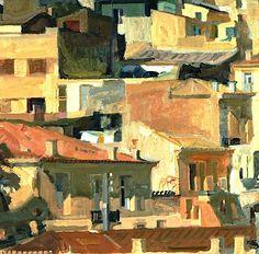 'Athens IV', 1968 by Panayiotis Tetsis Original Paintings For Sale, Art Paintings For Sale, Greek Paintings, Oil Paintings, Street Art, Urban Painting, Acrylic Wall Art, Post Impressionism, Art Database