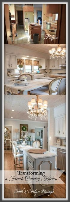 cooking area with faux mantel in a richly decorated french country