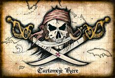 Chompers - Pirate Skull and Swords - Pirate Flag Artwork - Pirates - Jolly Rogers - Pirate Skull - Pirate Prints - Treasure Maps - Skulls Pirate Ship Drawing, Pirate Maps, Pirate Symbols, Golden Age Of Piracy, Pirate Tattoo, Treasure Maps, Pirate Treasure, Pirate Skull, Large Artwork
