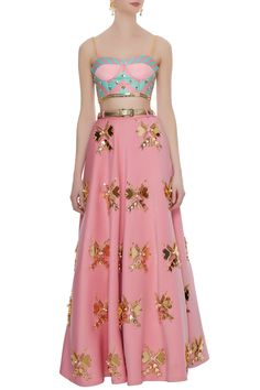 Buy Pink neoprene butterfly embellished blouse with lehenga & belt by Papa Don't Preach at Aza Fashions