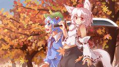 2girls animal_ears autumn autumn_leaves blue_eyes blue_hair blush collaboration…
