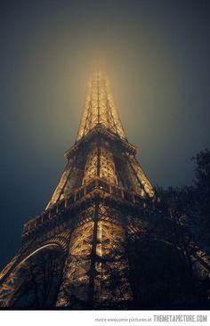 Eiffel Tower in fog…