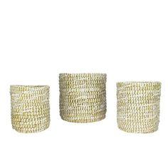 Set of 3 Seaside Treasures Decorative White Rivergrass Round Storage Baskets 9.5, Brown