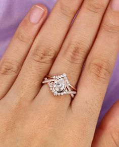 Our unique morganite engagement ring set is handmade in expert detail. This rose gold ring set features a luxurious morganite engagement ring with floral accents along either side of the band. A sprinkle of diamonds accentuate the large focal 1 carat Engagement Ring Rose Gold, Wedding Rings Solitaire, Wedding Rings Rose Gold, Princess Cut Engagement Rings, Wedding Rings Vintage, Halo Engagement Rings, Bridal Rings, Vintage Engagement Rings, Diamond Wedding Bands
