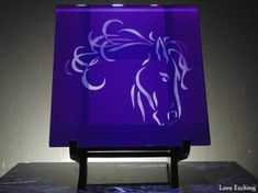 Are you a horse lover This purple etched glass wall tile would look great in just about anyone's decor You are looking at ONE etched glass wall tile It has Etched Wine Glasses, Hand Painted Wine Glasses, Etched Glass, Glass Etching, Purple Walls, Glass Candle Holders, Horse Head, Ceramic Mugs, Wall Tiles