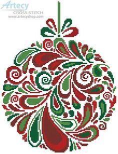Artecy Cross Stitch. Colourful Christmas Bauble 5 Cross Stitch Pattern to print online.