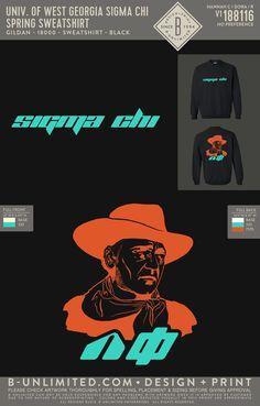 Sigma Chi Neon Cowboy Sweatshirt PR | Fraternity Event | Greek Event #sigmachi #machi #sx Sigma Chi, Bid Day Themes, Fraternity, All Design, Greek, Shell, Neon, Sweatshirts, Artwork