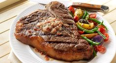 BBQ GRILLING #BBQ #Grilling T-Bone Steaks with Bacon-Parmesan Butter