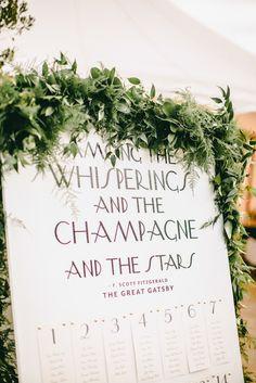 Seating Chart for Gatsby Inspired Wedding Read more - http://www.stylemepretty.com/2013/12/27/1920s-inspired-healdsburg-wedding/