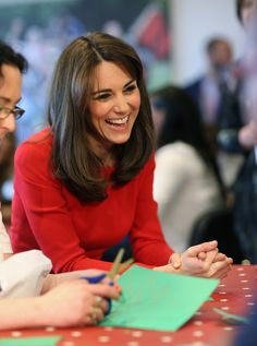 Catherine, Duchess of Cambridge takes part in group activities as she attends the Anna Freud Centre Family School Christmas Party at Anna Freud Centre on December 15, 2015 in London.