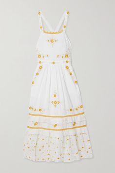 White Midi Dress, Apron Dress, Crochet Trim, Diy Clothes, African Fashion, Designer Dresses, Summer Dresses, Beautiful, How To Wear