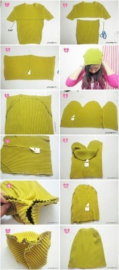 DIY beanie from old sweater                                                                                                                                                      More