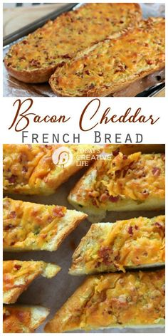 Bacon Cheddar French Bread | This easy cheesy bacon garlic french bread loaf is the perfect appetizer and party food. Find the recipe on Today's Creative Life