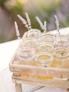 Elevate a Mason jar drink by using a single lavender stem as a stirrer.