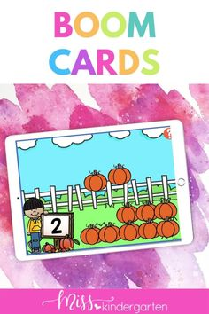 Students will practice counting pumpkins math digital activities for Kindergarten. Students will see the amount pulled out of a set of 10. This is part of a Kindergarten Boom Card Bundle. Kindergarten Math Activities, Student, Learning, Digital, Cards, Studying, Playing Cards, Teaching
