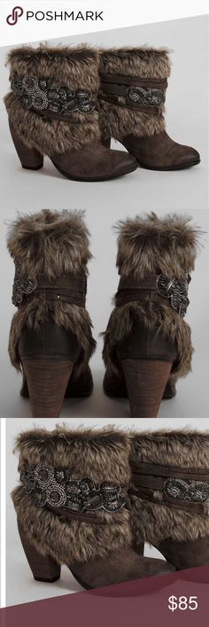 """Taupe Fur Baby Booties Boots Naughty Monkey is always providing a fun flirty Boot! These Faux fur and faux leather booties are accented with Beads and rhinestones. Short 6"""" shaft,  3"""" heel Fabric upper.  Rubber outsole. Faux Fur: 60% Polyester, 40% Acrylon. Imported 0908201744989995 New in box naughty monkey Shoes Ankle Boots & Booties"""