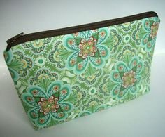 Padded Large Zipper Pouch Cosmetic Pouch Flora Paisley Leaf by JPATPURSES, $18.00
