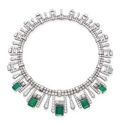 AN ART DECO EMERALD AND DIAMOND FRINGE NECKLACE Designed as five graduated rectangular-shaped emeralds to the pavé-set and baguette-cut diamond fringe and double-row diamond necklace, circa cm long, with French assay mark for platinum, in black case Emerald Necklace, Emerald Jewelry, High Jewelry, Jewelry Art, Antique Jewelry, Vintage Jewelry, Jewelry Design, Vintage Brooches, Crystal Jewelry