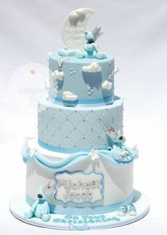 Baby Shower Cake for boy themed shower Cute Cakes, Pretty Cakes, Beautiful Cakes, Baby Shower Cakes For Boys, Baby Boy Cakes, Baby Boy Christening Cake, Gateau Baby Shower, Teddy Bear Cakes, Bolo Cake