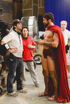Zack Snyder and Gerard Butler behind the scenes of 300 (2006)