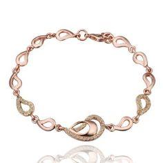 18K Rose Gold Plated Many Teardrops Crystal Pave Link Bracelet