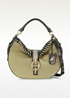 Diane Von Furstenberg Sutra Laced Canvas Hobo Bag