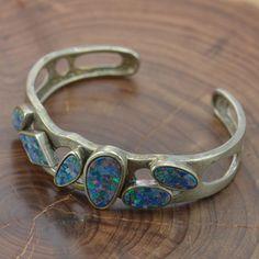 Vintage Sterling Silver - Adjustable Opal Cuff