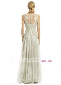 Round Natural Floor-Length A-Line Formal Gowns