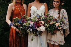 Summer wedding inspiration - burnt orange + floral bridesmaid dresses