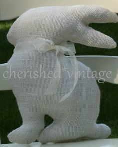 BuRLaP EaSTeR BuNNy PiLLoW by cherishedvintage on Etsy, $12.00